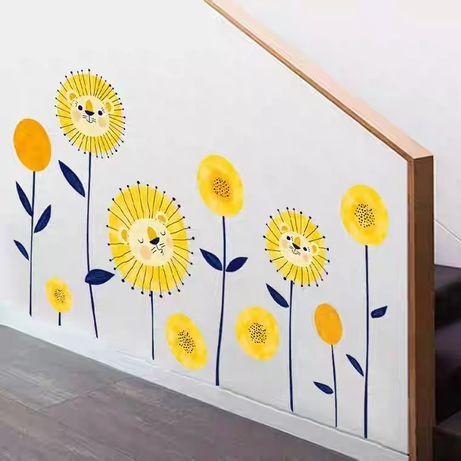 Виниловая наклейка для детей Цветы львы на стену обои мебель
