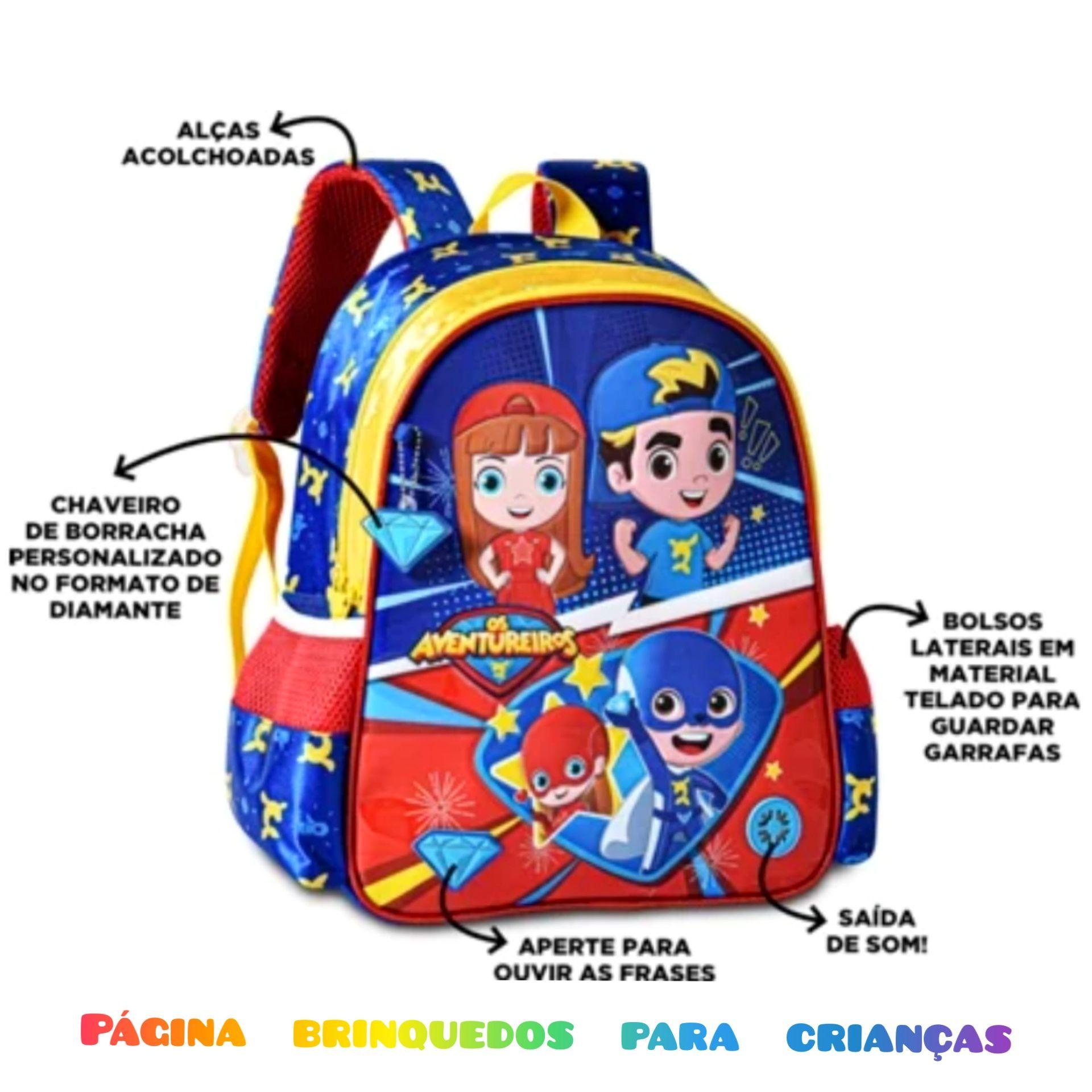 Mochila escolar com som luccas neto Giovanna e os aventureiros