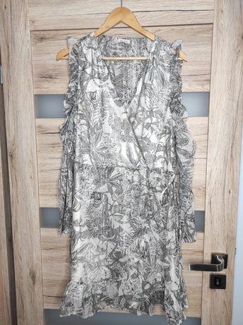 Letnia sukienka River Island 2XL plus size szara dekolt V wiązanie
