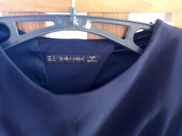 Sukienka Zara Basic r. S z rękawem 3/4 granatowa