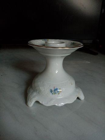 Świecznik stary porcelanowy