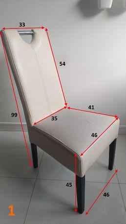 Krzesła do jadalni (biała eko skóra + drewniane nogi)