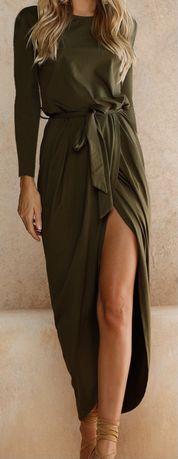 Vestido comprido verde caqui