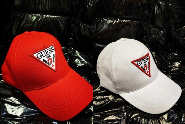 Czapka z daszkiem Guess biała czerwona nowość logowane
