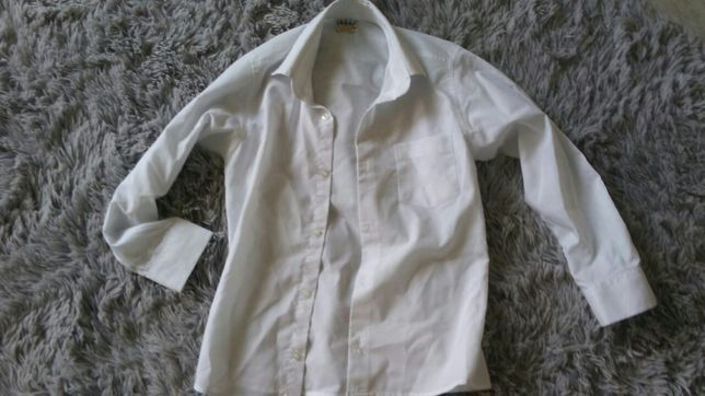 Koszula biała elegancka chłopiec 134