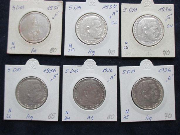 Zestaw srebrnych monet .Oryginały !!! 42