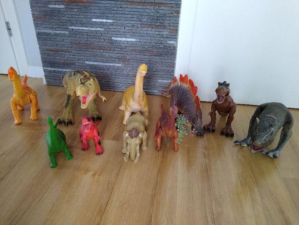 Zestaw gumowe dinozaury, plastikowe, Diplodok, Tyranozaur, Brachiozaur