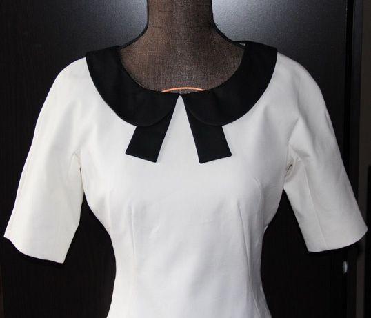 SIMPLE Biała sukienka kołnierzyk slub chrzest komunia 34XS Kozuchowska