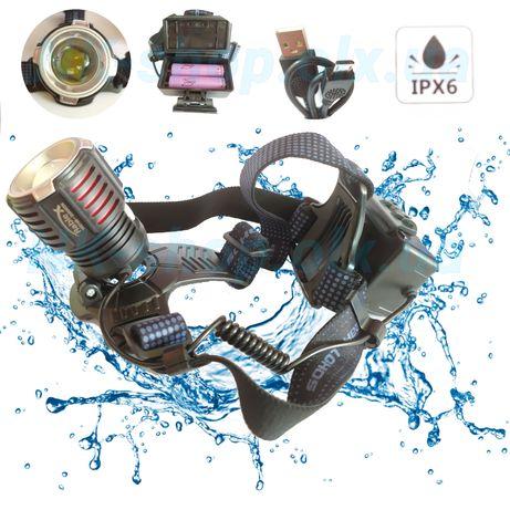 Налобный фонарь XHP50. Защита от воды. Аккумулятор 18650 2шт microUSB