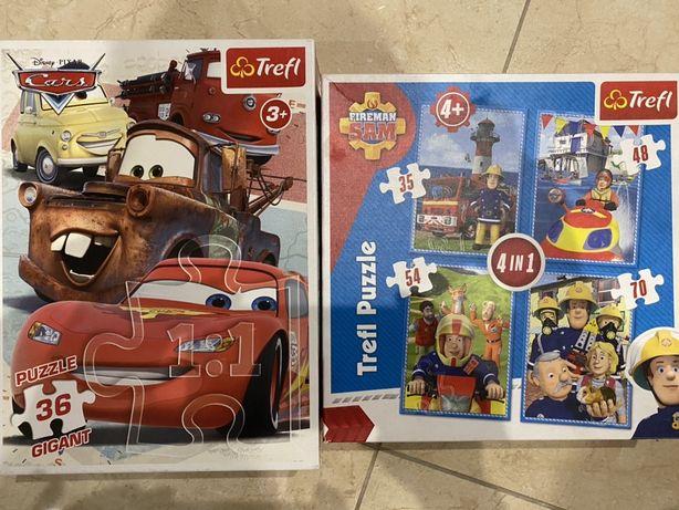 Puzzle STRAŻAK SAM (4x) i CARS Gigant 36 elementów