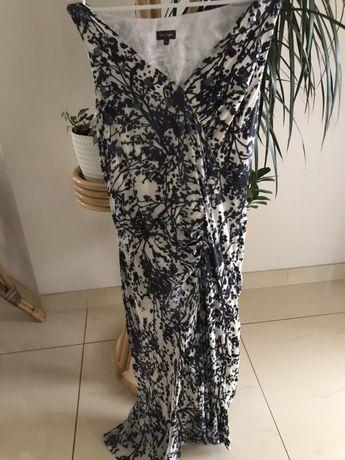 Piękna sukienka czarna- ecru ,L/XL , Jedwab z podszewką . Polecam