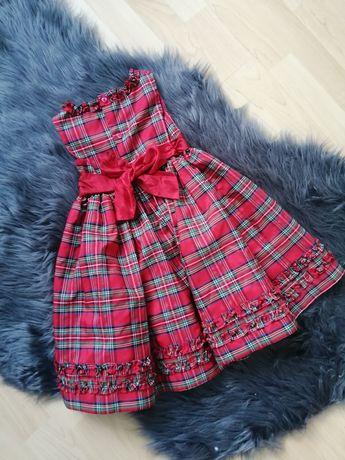 Przepiękna sukienka czerwona kratka 92cm na święta wesele urodziny
