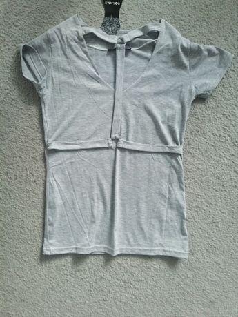 Szara bluzka wiązany dekolt paski szelki sml