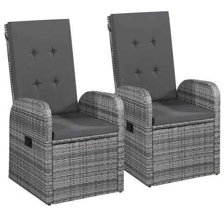 vidaXL Cadeiras jardim reclináveis 2 pcs + almofadões vime PE cinzento 47676