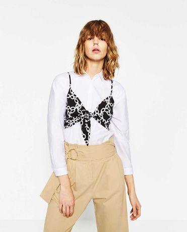 Top crop tipo lenço atado Zara XS