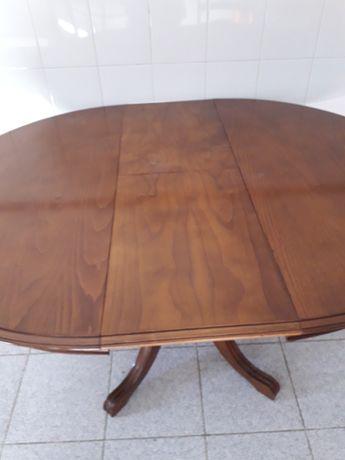 Mesa de jantar redonda  extensivel castanho com pe' de galo