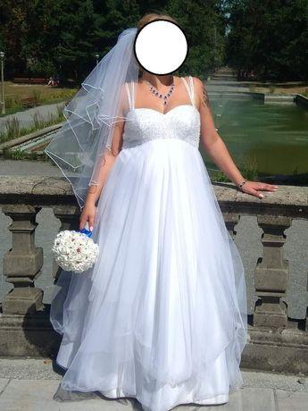 suknia ślubna, ciążowa, duży rozmiar, 40-42-44