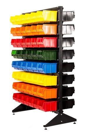 Стеллаж под метизную продукцию с пластиковыми контейнерами