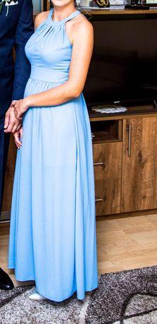 Błękitna długa sukienka marki Salsa rozmiar M