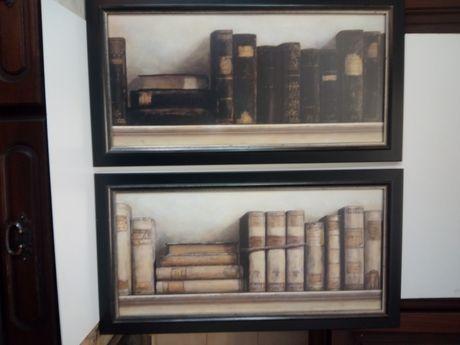 2 quadros decorativos com estampas de livros com molduras