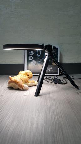 Кольцевая LED лампа 20 см с триногой.