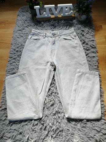 Spodnie szare jeansowe z wysokim stanem xs