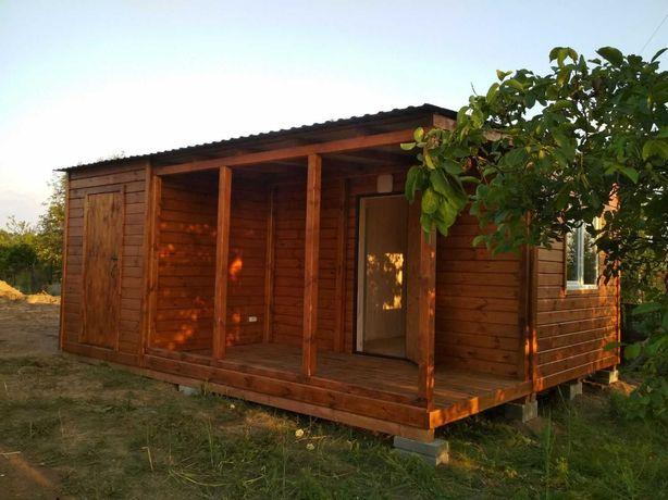 деревяный каркасный мобильный дачный домик с терассой