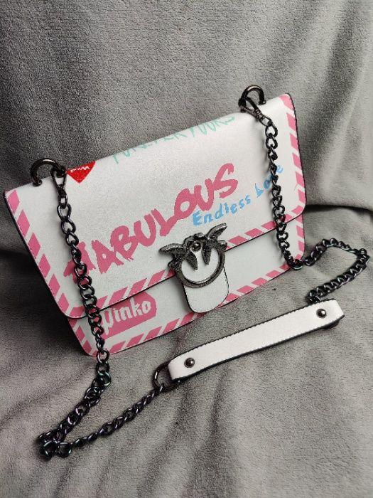 Torebka damska Pinko biała z różowym Listonoszka torba Premium