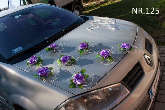 Piękna fioletowa ozdoba na samochód/przybranie/dekoracja/stroik/nowa
