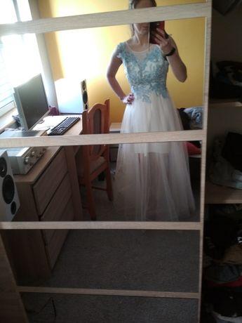 Piękna Sukienka Ślub Biała z tiulem super efekt Tanio