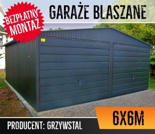 GrzywStal - Garaż Blaszany 6x6 - CZARNY - blaszak, garaże blaszane,