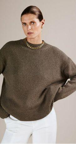 Zara kaszmirowy sweter BRĄZOWY 36 S