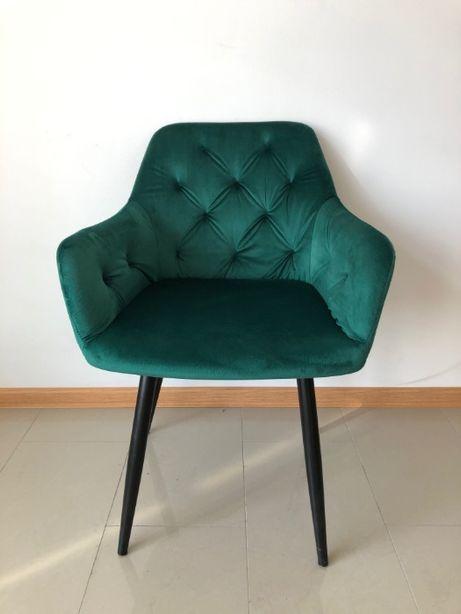 Krzesło Tapicerowane Aksamitne Butelkowa Zieleń Zielony Miękkie Modern
