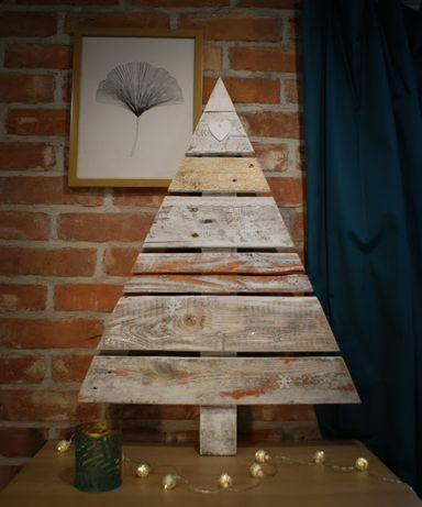 Choinka drewniana, z desek, biała, skandynwaska,loft, biało miedziana