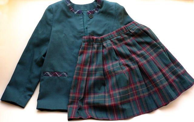 Форма школьная разм. 146см тёмно-зелёного цвета Пиджак «Юность» и Юбка