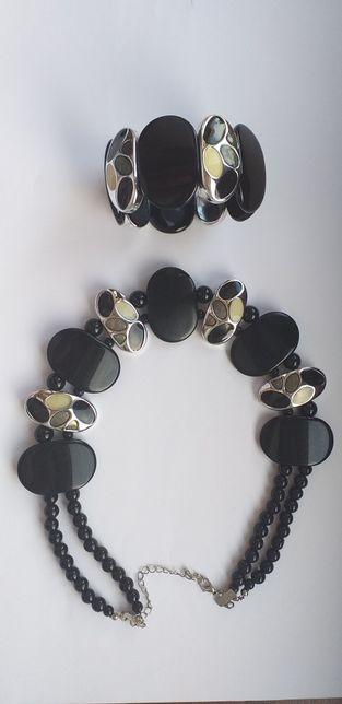 Czarno-srebrna kolia + bransoletka