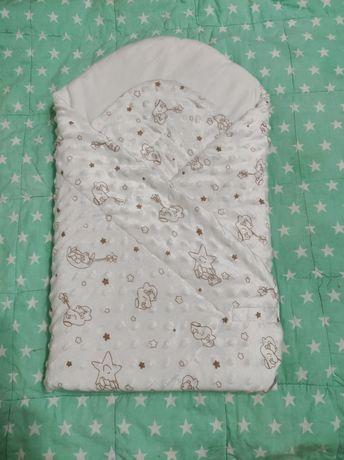 Фирменный конверт одеяло летний плюшевый на выписку