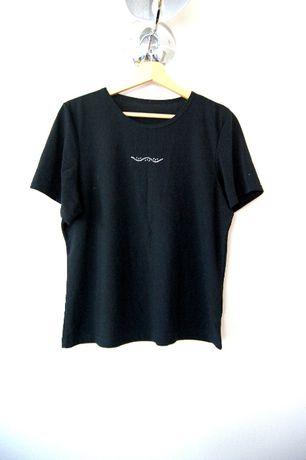 czarna bluzka czarny t-shirt koszulka prosta oversizowa 40 42XL top