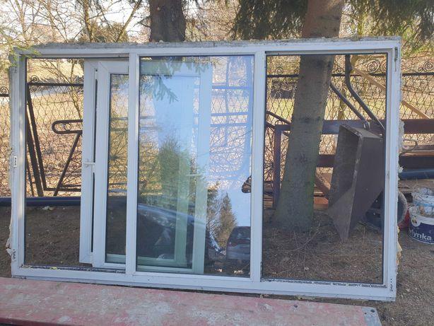 Okno z demontazu pcv bialo-bronzowe