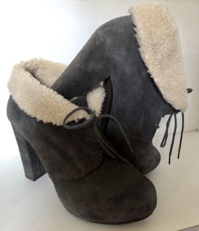 Ботиночки замшевые серые с мехом га каблуке 38