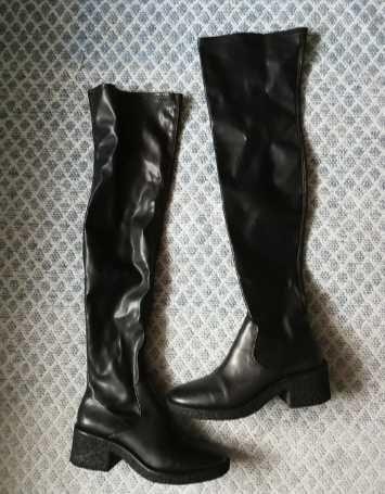 Zara czarne oficerki za kolano muszkieterki 39 elastyczna cholewka