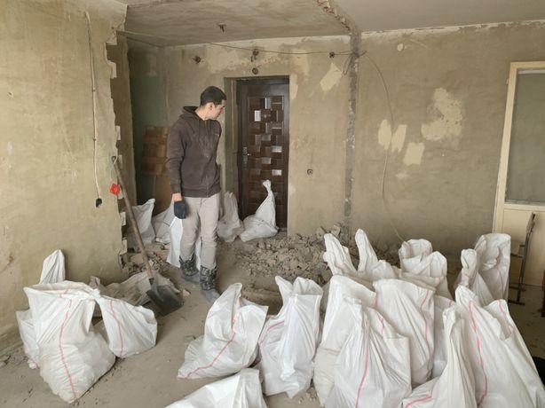 Демонтажные работы. Демонтаж стен, стяжки, проемы и пр.