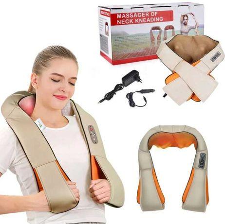 Универсальный роликовый массажер  с подогревом для шеи и плеч 12V, 24W