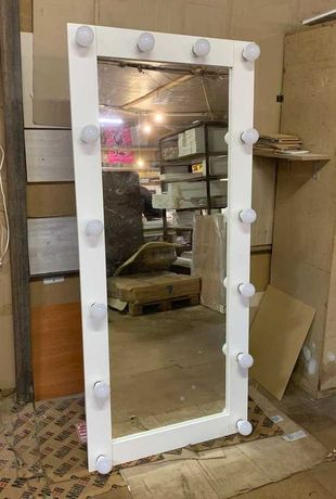 Акция! Зеркало с лампочками подсветкой в полный рост напольное эконом.