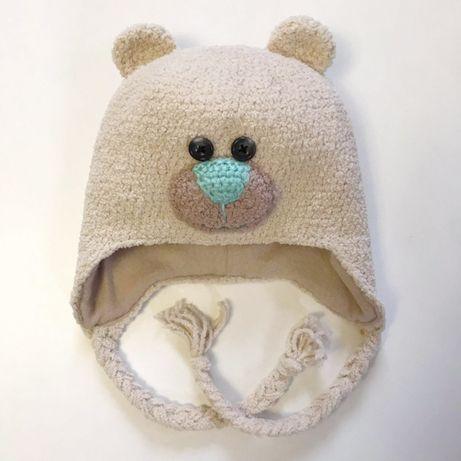 Детская шапочка зимняя Мишка