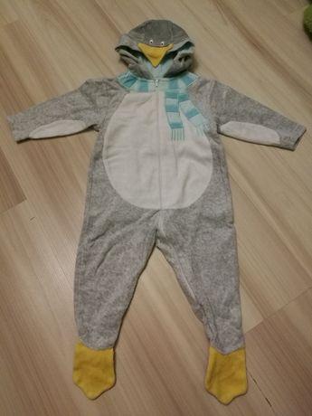 Pajacyk kombinezon pingwinek zimowy na zimę 80 9-12