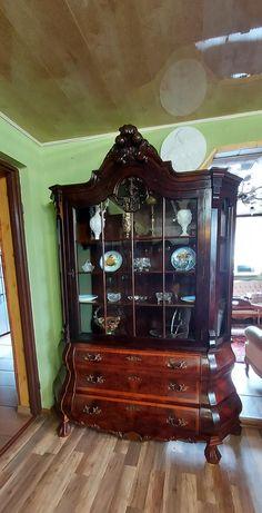 Duża antyczna witryna barokowa brzuchatka z rozetą