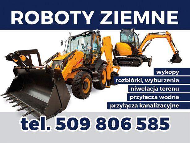 Przyłącza wody kanalizacji w gminach Oława, Siechnice; roboty ziemne