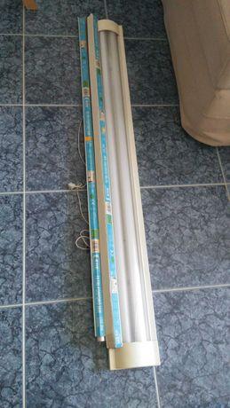 Armadura para duas lâmpadas tubolares T8 + 4 lâmpadas fluroscentes