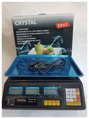 Торговые Весы электронные с калькулятором Crystal 50 kg 6V